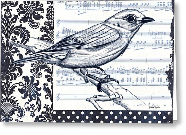Ink Drawing Greeting Cards - Indigo Vintage Songbird 1 Greeting Card by Debbie DeWitt