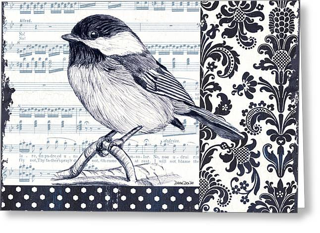 Indigo Vintage Songbird 2 Greeting Card by Debbie DeWitt