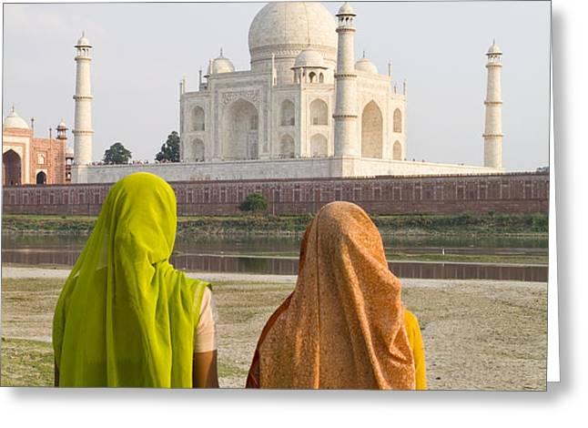 indu women at the Taj Mahal Greeting Card by Bill Bachmann - Printscapes