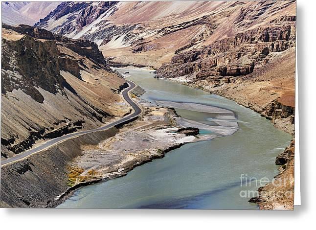 Indus River Ladakh Jammu And Kashmir India Greeting Card by Rudra Narayan  Mitra