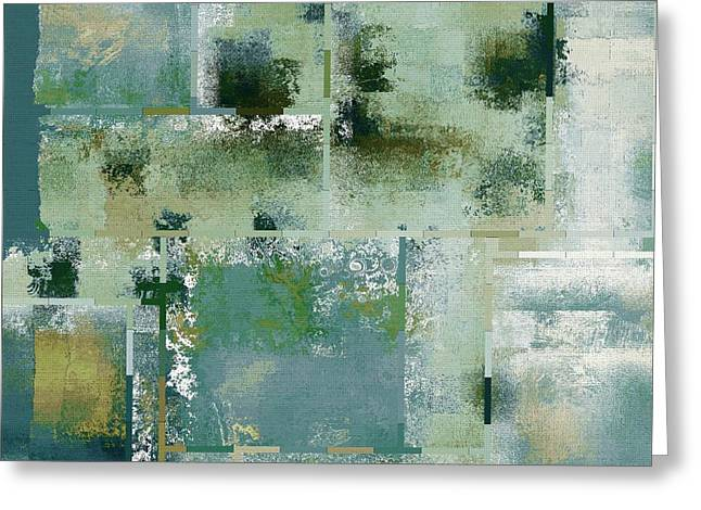 Green Geometry Art Greeting Cards - Industrial Abstract - 17t Greeting Card by Variance Collections