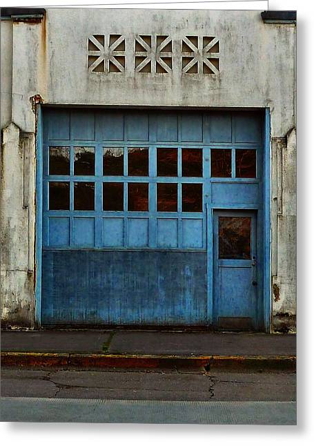 Geometrical Art Greeting Cards - Industrial Blue Greeting Card by Patricia Strand