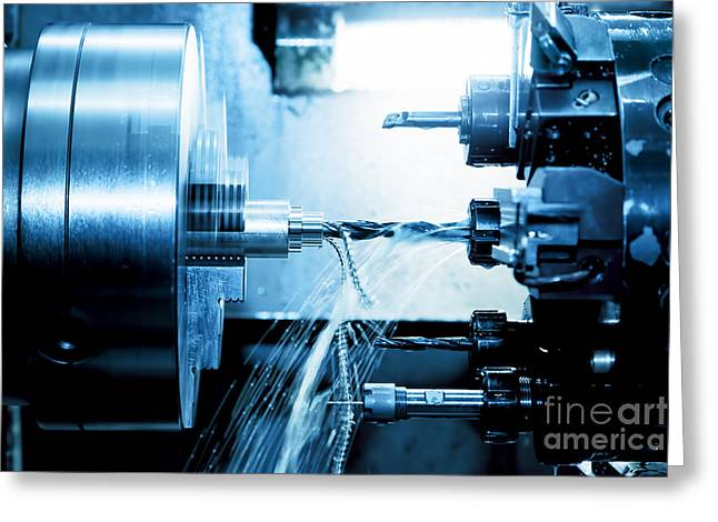 Cnc Greeting Cards - Industrial CNC drilling and boring machine at work Greeting Card by Michal Bednarek