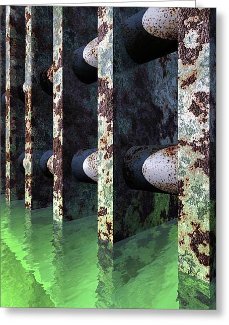 Industrial Disease Greeting Card by Richard Rizzo