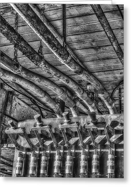 Fusebox Greeting Cards - Industrial Electrical Panel BW Greeting Card by Susan Candelario