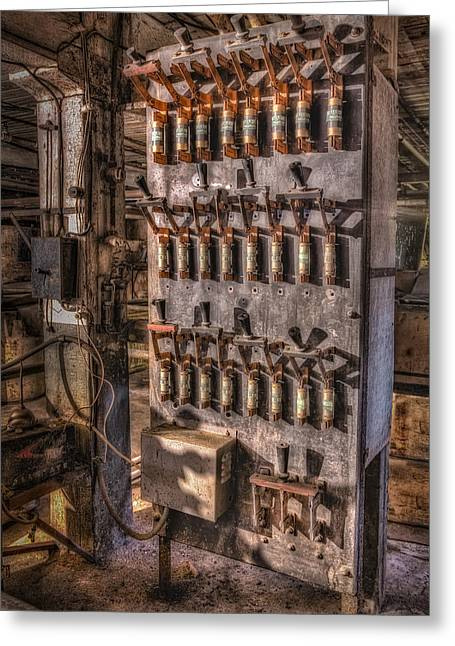 Fusebox Greeting Cards - Industrial Electrical Panel II Greeting Card by Susan Candelario