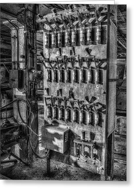 Fusebox Greeting Cards - Industrial Electrical Panel IIBW Greeting Card by Susan Candelario
