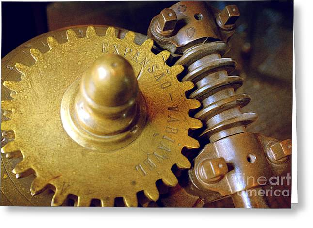 Rotate Photographs Greeting Cards - Industrial Gear Greeting Card by Carlos Caetano