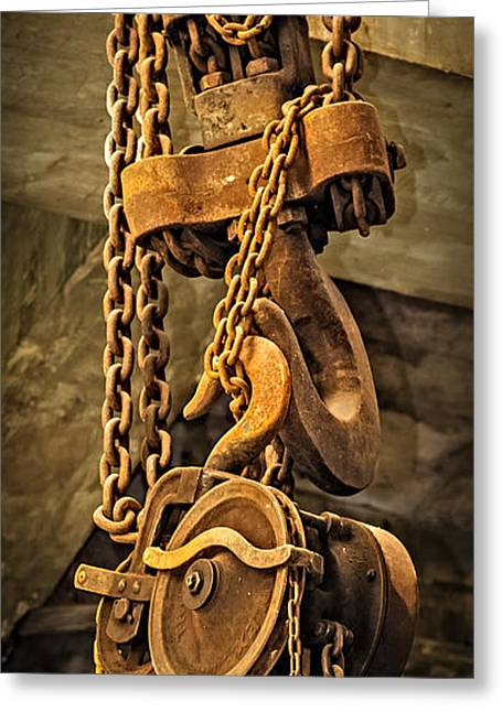 Metal Worker Greeting Cards - Industrial Hoist Greeting Card by Paul Freidlund