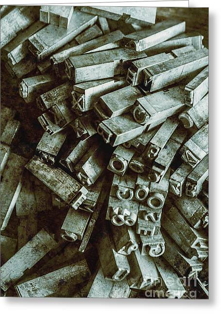 Industrial Letterpress Typeset  Greeting Card by Jorgo Photography - Wall Art Gallery