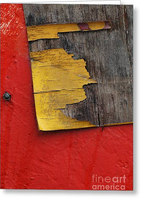 Abstracto Greeting Cards - Industrial Red and Gray Abstract Wall Art Greeting Card by ArtyZen Studios - ArtyZen Home