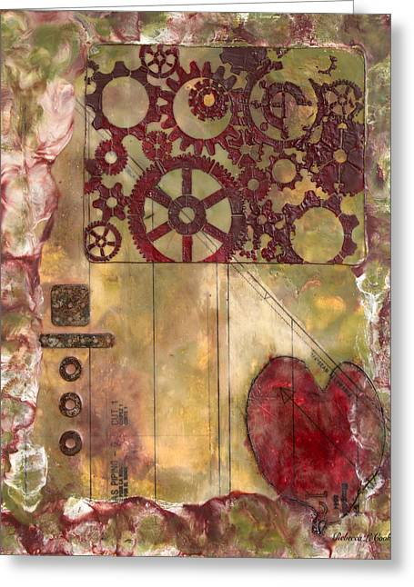 Industrial Background Mixed Media Greeting Cards - Industrial Remorse Encaustic Greeting Card by Bellesouth Studio