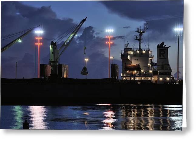 Grapple Greeting Cards - Industrial Ship at night Greeting Card by Bradford Martin