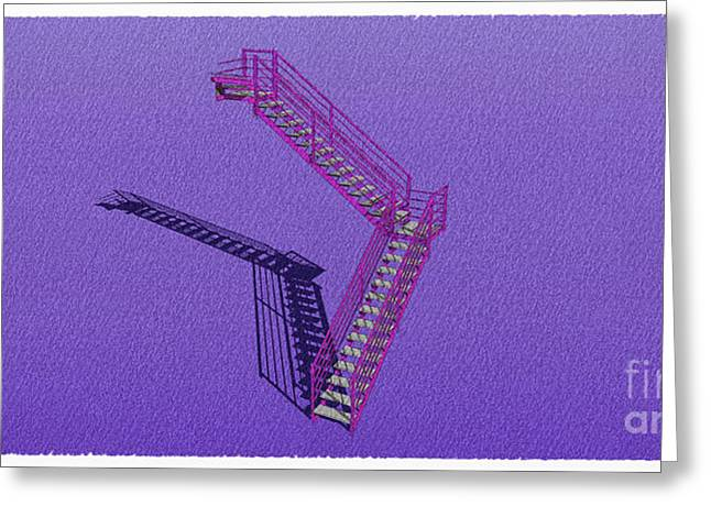 Industrial Stair 30 Purple Construction Architecture Original Sketch For Architects Greeting Card by Pablo Franchi