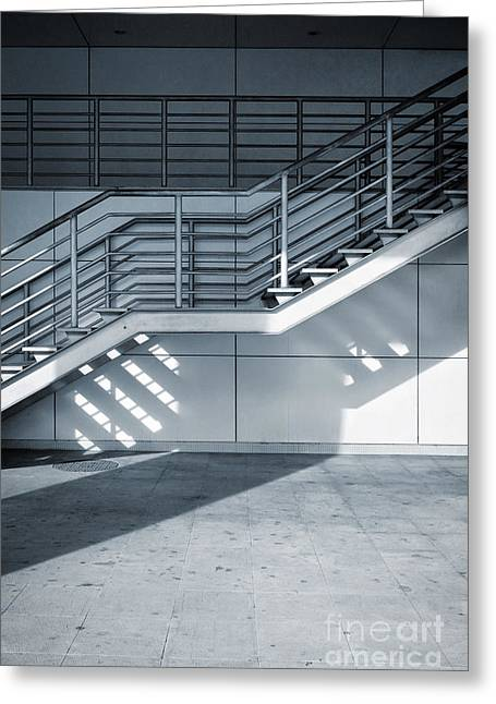 Facility Greeting Cards - Industrial Stairway Greeting Card by Carlos Caetano