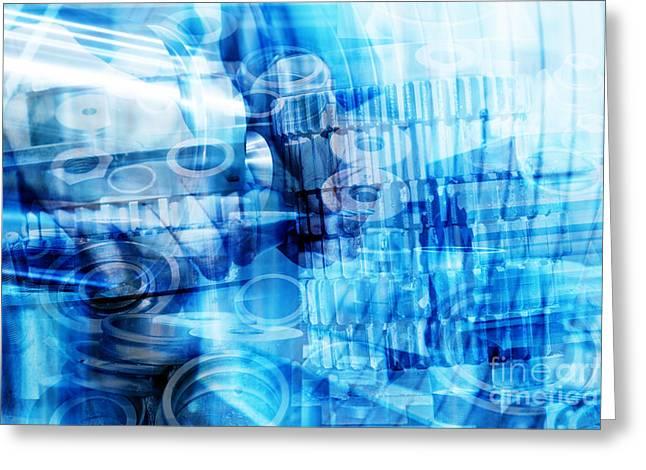 Industrial Background Greeting Cards - Industrial technology abstract background Greeting Card by Michal Bednarek