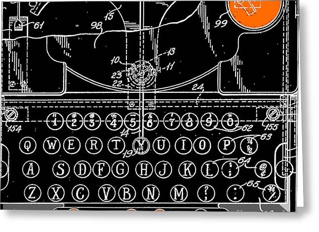 Typewriter Greeting Cards - Industrial Typewriter Illustration Art Print Pillow Greeting Card by ArtyZen Studios - ArtyZen Home