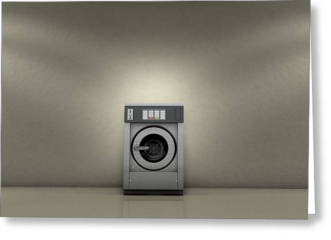 Industrial Washer In Empty Room Greeting Card by Allan Swart