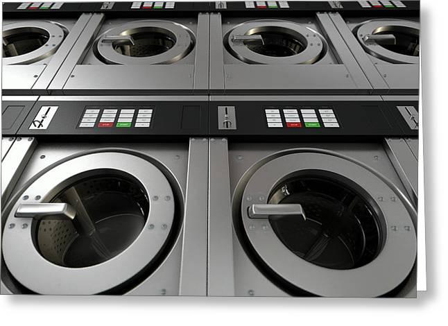 Industrial Washing Machine Greeting Card by Allan Swart