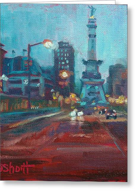 Recently Sold -  - Donna Shortt Greeting Cards - Indy Circle Night Greeting Card by Donna Shortt