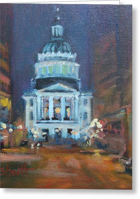 Indiana Scenes Greeting Cards - Indy Government Night Greeting Card by Donna Shortt
