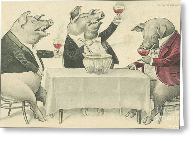 Ine Food And Song With Boars Greeting Card by Artist from the past