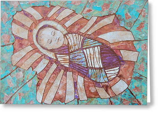 Baby Jesus Mixed Media Greeting Cards - Infant Jesus Greeting Card by Carol Cole