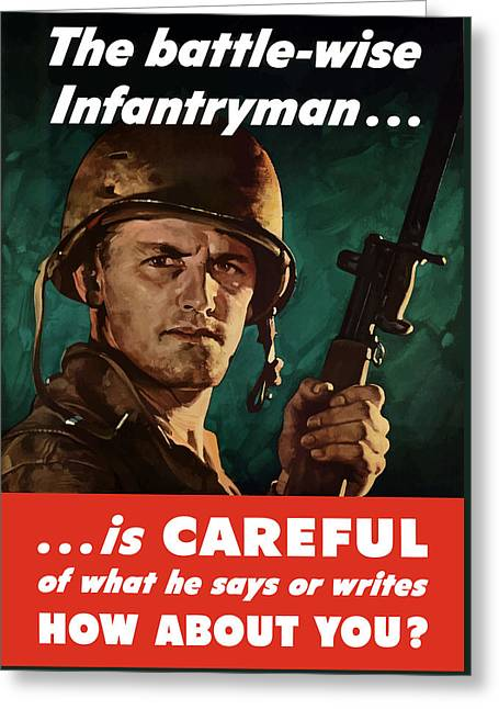 Lips Digital Greeting Cards - Infantryman Is Careful Of What He Says Greeting Card by War Is Hell Store