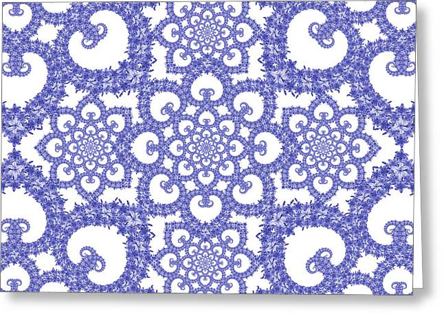 Cushion Tapestries - Textiles Greeting Cards - Infinite Lily in blue and white Greeting Card by Deborah Runham