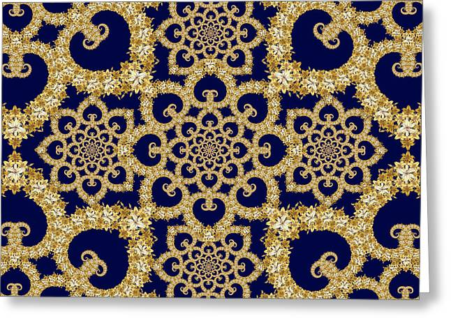 Cushion Tapestries - Textiles Greeting Cards - Infinite Lily in navy Greeting Card by Deborah Runham