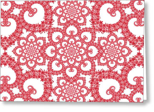 Cushion Tapestries - Textiles Greeting Cards - Infinite Lily in red and white Greeting Card by Deborah Runham