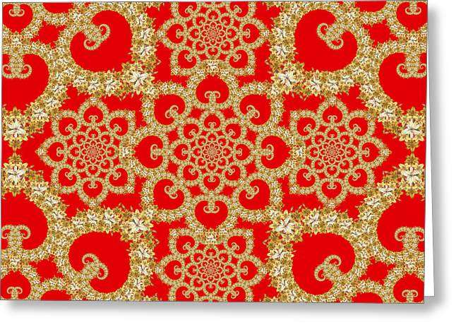 Cushion Tapestries - Textiles Greeting Cards - Infinite Lily in red Greeting Card by Deborah Runham