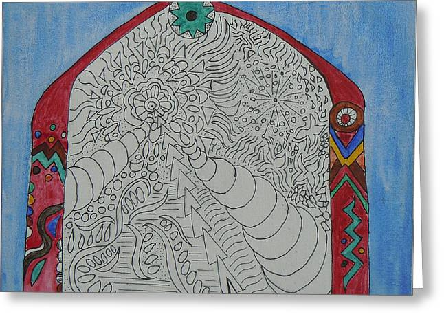 Entryway Mixed Media Greeting Cards - Infinity Archway Greeting Card by Christy Woodland