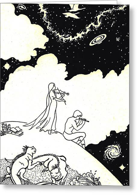 Violin Player Drawings Greeting Cards - Infinity Greeting Card by Dawn Senior-Trask