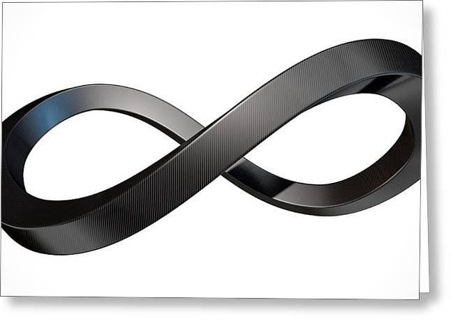 Infinity Greeting Cards - Infinity Symbol Carbon Fibre Greeting Card by Allan Swart
