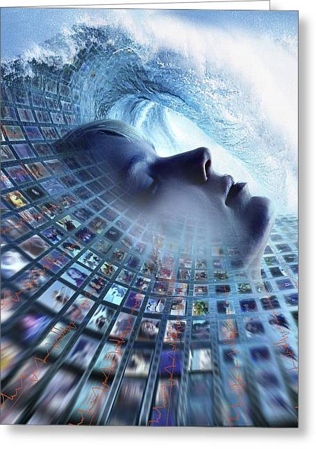 Eeg Greeting Cards - Information Overload, Conceptual Image Greeting Card by Smetek