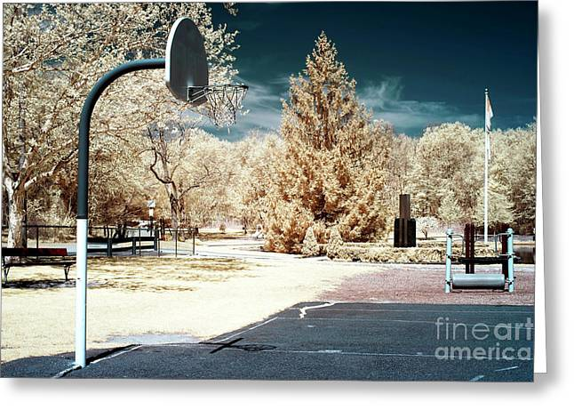 Infrared Basketball Court Greeting Card by John Rizzuto