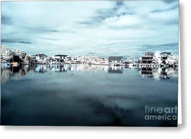Old School House Greeting Cards - Infrared Beach Houses on the Water blue Greeting Card by John Rizzuto