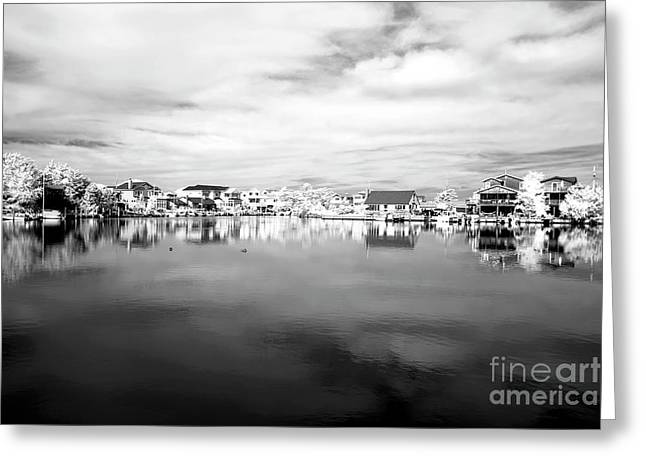 Infrared Photography Greeting Cards - Infrared Beach Houses on the Water Greeting Card by John Rizzuto