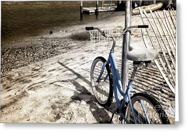Infrared Bike On The Beach Greeting Card by John Rizzuto