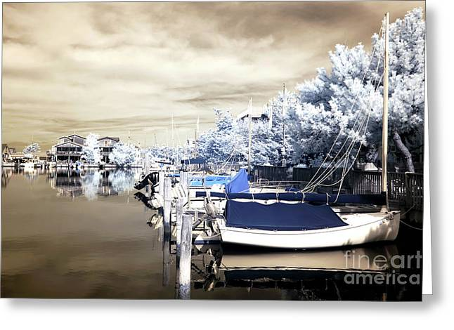 Infrared Photography Greeting Cards - Infrared Boats at LBI Greeting Card by John Rizzuto