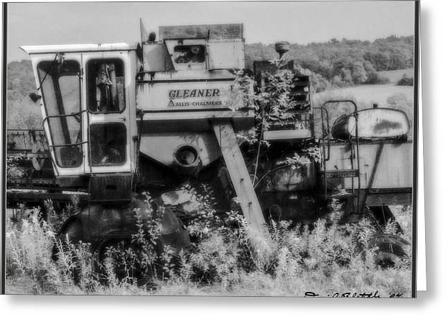 Infrared BW Old Farm Combine Greeting Card by David Blatchley