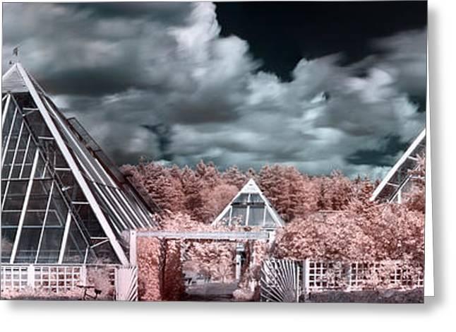 Pyramids Greeting Cards - Infrared glass pyramids panorama Greeting Card by Sandra Rugina