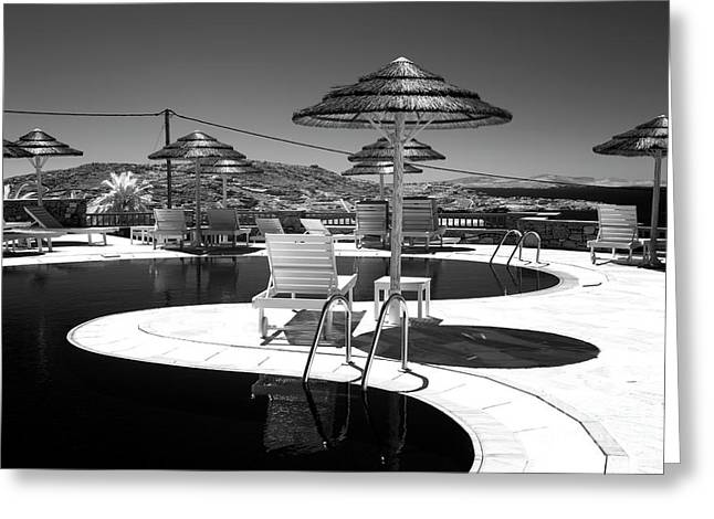 Infrared Pool Curves In Mykonos Greeting Card by John Rizzuto