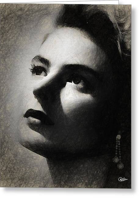 Ingrid Bergman Greeting Card by Quim Abella
