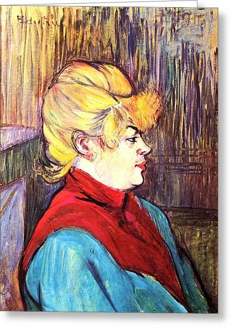 Bedspread Greeting Cards - Inhabitant of a Brothel Greeting Card by Toulouse Lautrec