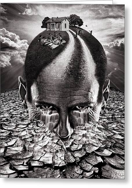Inhabited Head Gray Scale Greeting Card by Marian Voicu