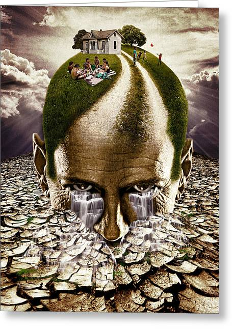 Digital Collage Greeting Cards - Inhabited Head Greeting Card by Marian Voicu