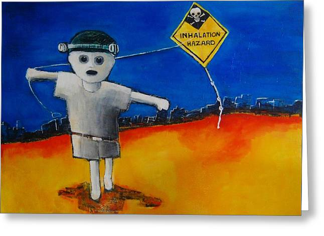 Kite Greeting Cards - Inhalation Hazard Greeting Card by Jean Cormier