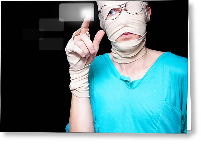 Hurting Head Greeting Cards - Injured Person Pressing Digital Hospital Button Greeting Card by Ryan Jorgensen
